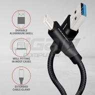 AXAGON SUPERSPEED kabel USB-C <-> USB-A 3.2 Gen 1, 1m, 3A, oplet, černý - Fotka 2/3