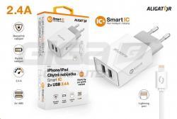Aligator síťová nabíječka, 2xUSB, kabel Lightning 2A, smart IC, 2,4 A, bílá - Fotka 4/4