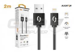 Aligator datový a nabíjecí kabel, konektor Lightning, 2A,1m, černá - Fotka 3/3